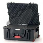 Valise HPRC 2700CW noire avec mousse et roulettes