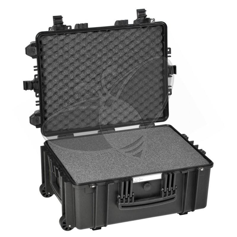 Valise EXPLORER 5326 noire avec mousse et roulettes