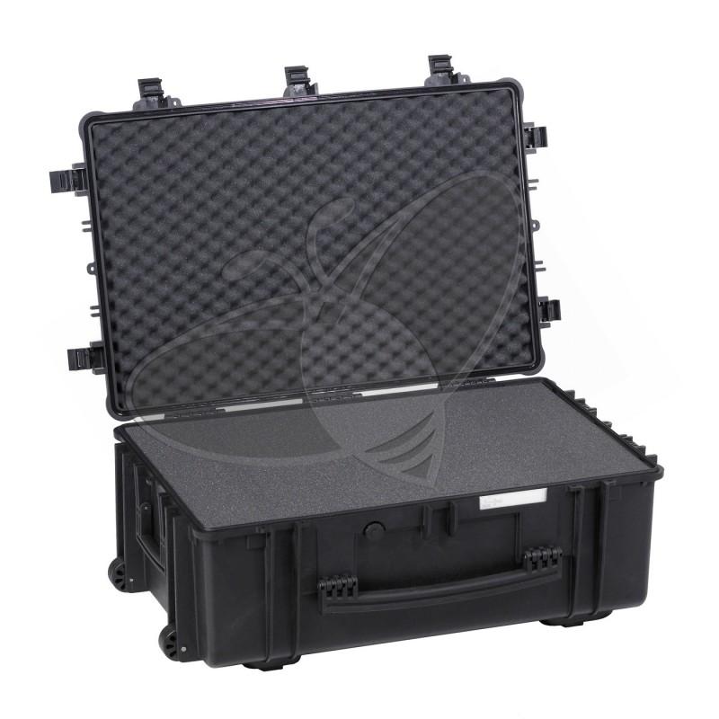 Valise EXPLORER 7630 noire avec mousse et roulettes