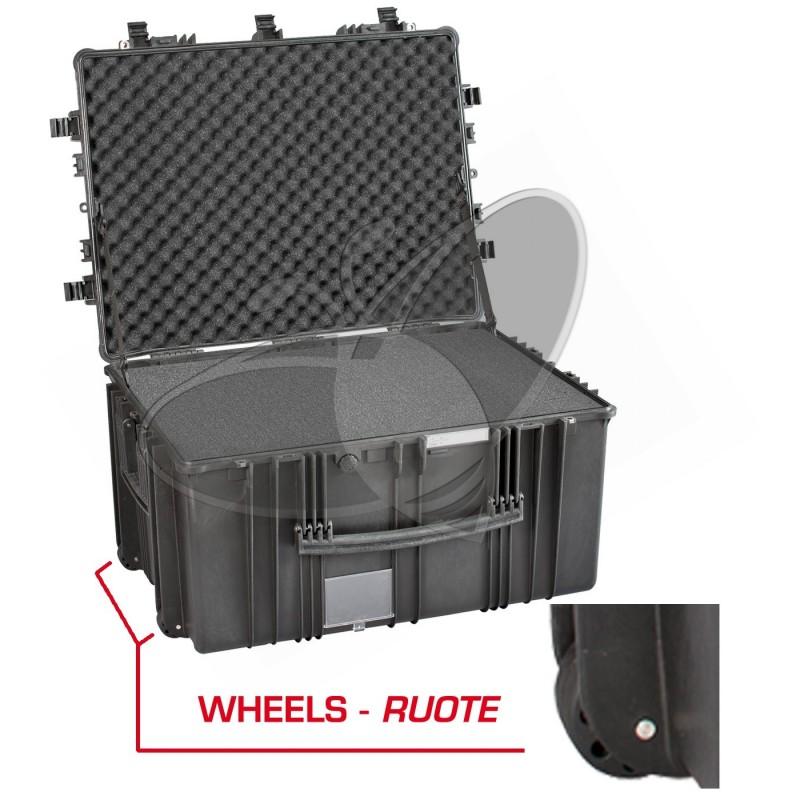 Valise EXPLORER 7745 noire avec mousse et roulettes