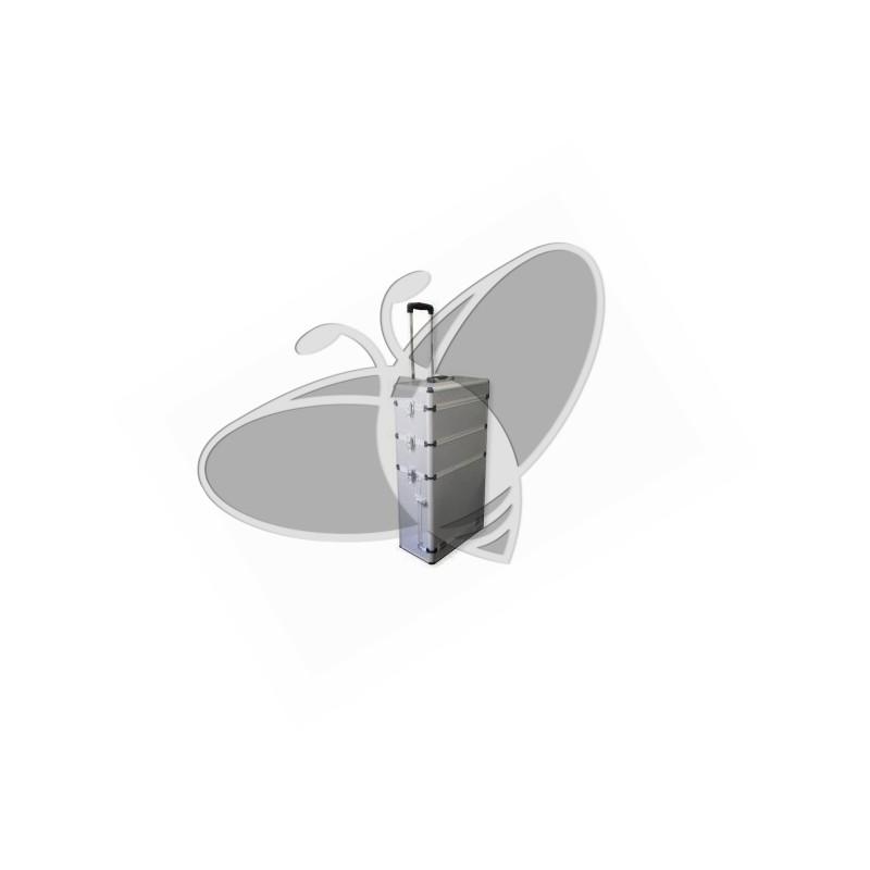 Valise design look aluminium Servante 8394 - 3 niveaux + poignée télescopique et roulettes
